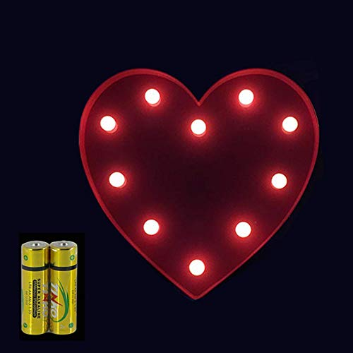 FUNRUI LED Marquee Letter Lights Sign 26 Alphabet Light Up Marquee Letters Lamp Sign for Bedroom Night Light Wedding Birthday Party Festival Valentine Battery Powered Home Bar Decoration (Heart) (Light Up Decorations Valentines)