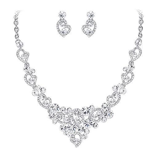 - EVER FAITH Wedding Sweet Love Heart Necklace Earrings Set Austrian Crystal Silver-Tone - Clear
