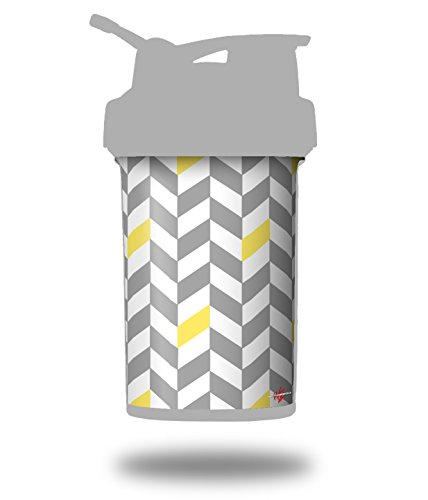 Chevrons Gray And Yellow - Decal Style Skin Wrap fits Blender Bottle 22oz ProStak (BOTTLE NOT INCLUDED) ()