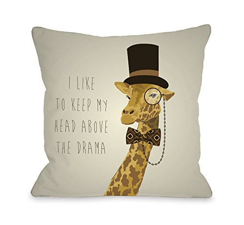 One Bella Casa Head above Hipster Giraffe Throw Pillow by OBC, 16 x 16 , Tan