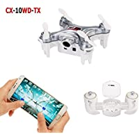 Cheerson CX-10WD-TX Wifi FPV Mini Drone with Remote Control 2.4G 4CH 6Aixs RC Quadcopter RTF Camera Live Video One With USB2.0 Memory Card Reader-Dark Grey