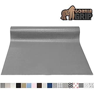 Gorilla Grip Original Smooth Top Slip-Resistant Drawer and Shelf Liner, Non Adhesive Roll, 12 Inch x 20 FT, Durable Kitchen Cabinet Shelves Liners for Kitchens Drawers and Desks, Gray