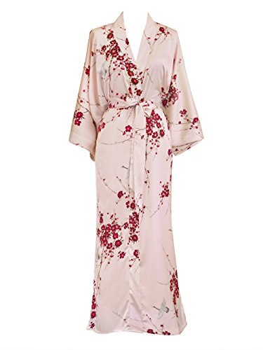 Old Shanghai Women's Kimono Robe Long - Watercolor Floral, Cherry Blossom & Crane- Rose (Crane Rose)