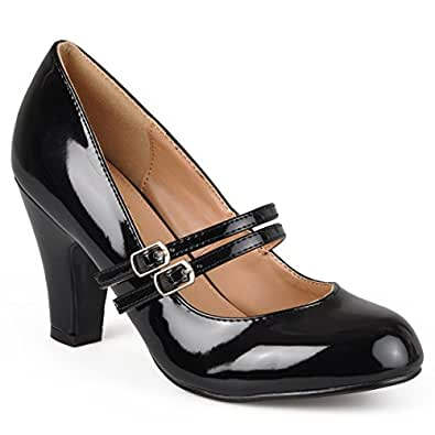 Journee Collection Womens Mary Jane Faux Leather Pumps Black Patent 6