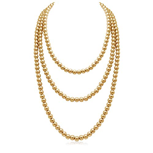 So Pretty Golden Long Pearl Necklace for Women Layered Faux Pearl Strand Necklace Costume Jewelry, 69