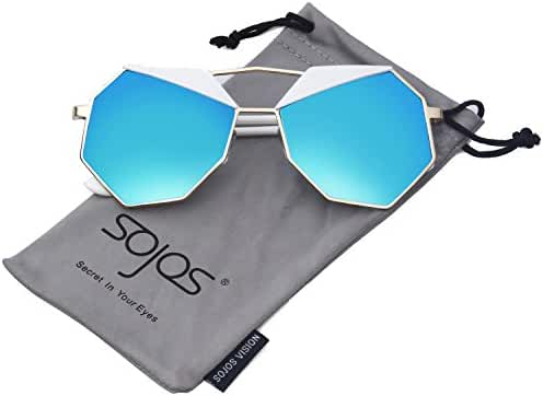 SojoS Super Lovers Polygon Round Cute Composite Two Tone Women Sunglasses SJ1016