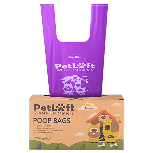 PETLOFT Poop Bags for Dogs, 300-Count Lemon-Scented, Durable EPI Biodegradable Environment-Friendly Dog Waste Bag Poop Bag with Easy Tie Handles - Purple (Lemon-Scented)