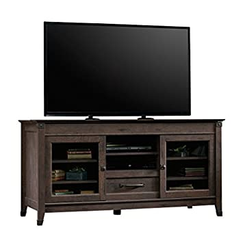 Sauder 419083 Carson Forge Entertainment Credenza, For TV s up to 60 , Coffee Oak finish