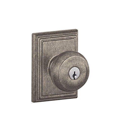 Schlage F51A GEO 621 ADD Georgian Knob with Addison Trim Keyed Entry Lock, Distressed Nickel