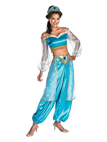 Disguise Women's Disney Aladdin Jasmine Sassy Prestige Costume, Green, Medium 8-10