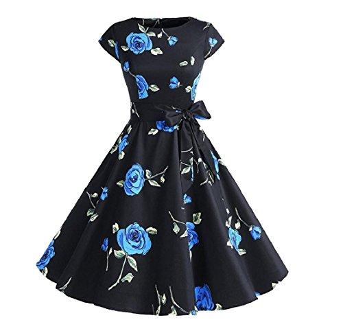 Voga Girocollo Da Blue1 Coolred Vestito Casuale Partito Hepburn Stampa Sole Scuro donne WqAR4I