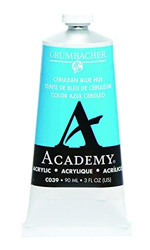 Grumbacher Academy Acrylic Paint, 90ml/3 oz Metal Tube, Cerulean Blue Hue