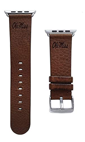 Affinity Bands University of Mississippi Ole Miss Rebels Top Grain Oil Tanned Leather Band Compatible with The Apple Watch - Available in Three Leather Colors - Long Length - Band ONLY