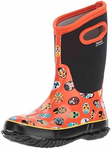 Bogs Kid's Classic High Waterproof Insulated Rubber Neoprene Rain Boot Snow, Mask Print/Orange/Multi, 8 M US Toddler