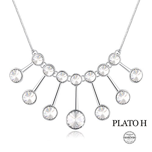 PLATO H Christmas Day Gifts For Woman Elegant White Crystals Necklace Magic Mirror Charming Jewelry Woman Girls Necklace Pendant With Swarovski Crystal Romantic Gifts For Her 18