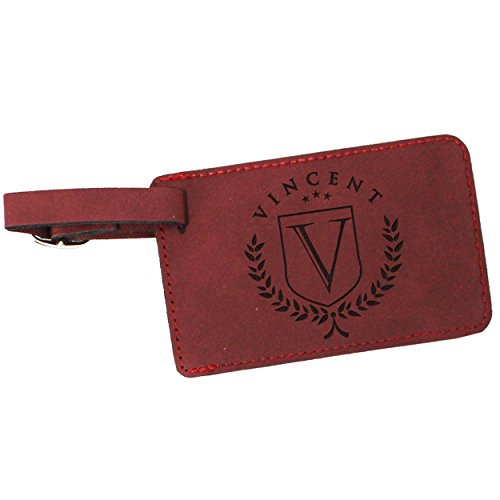 Custom Personalized Luggage Tag - Engraved Travel Gifts - Monogrammed for Free (Crimson) by My Personal Memories