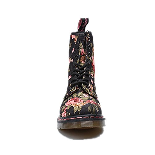 Bottom Up Non Lace Canvas printing Boots EUR37UK455 khaki wear Flat Shoes Martin Spring NVXIE Single slip Womens Thick Winter Anti Boots Fall Short Black 7aqWPvSY