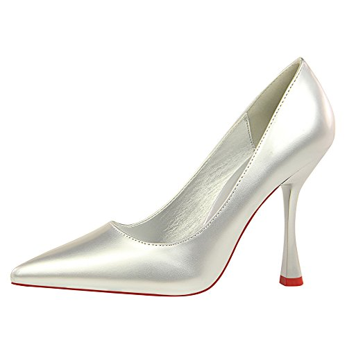 Style Silber High Fashion XIAOQI Sexy Heels Leder Thin Flache European Lack New Spitze and Simple Heels American Shoes High xqtCgw4