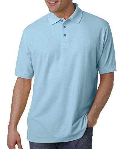 (UltraClub Men's Whisper Fit Pique Polo Shirt, Baby Blue, Large )