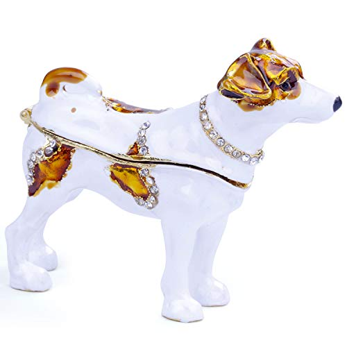 Dog Trinket Box,Jewelry Organizer Hand Painted Enameled Faberge Egg Dog Vintage Style Decorative Hinged Jewelry Trinket Box (White)