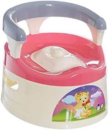 ベビートイレチェアホームアウトドア旅行トイレ快適な座席かわいい引き出しトレーニングキッズベビー漏れ防止小型ポータブルトイレ (Color : Pink)