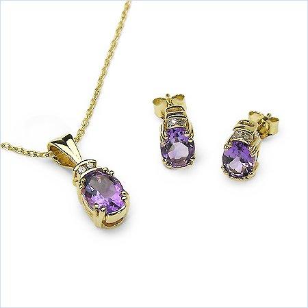 Bijoux-Schmidt-Diamond / pendentif améthyste, collier, boucles d'oreilles 2,96 carats SET 4-pièces