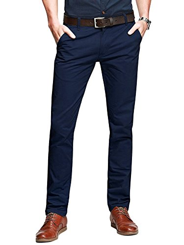 OCHENTA Men's Slim Tapered Flat Front Casual Dress Pants Dark Blue Lable 32