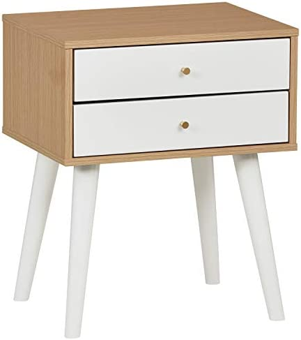Amazon Brand Rivet Claremont Contemporary Nightstand with Tapered Legs, 20 W, Pale Wood and White