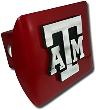 """Texas A/&M University Aggies Maroon with Chrome /""""ATM/"""" State Shape Emblem NCAA College Sports Trailer Hitch Cover Fits 2 Inch Auto Car Truck Receiver"""