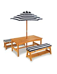 KidKraft Outdoor table and Chair Set with Cushions and Navy S...