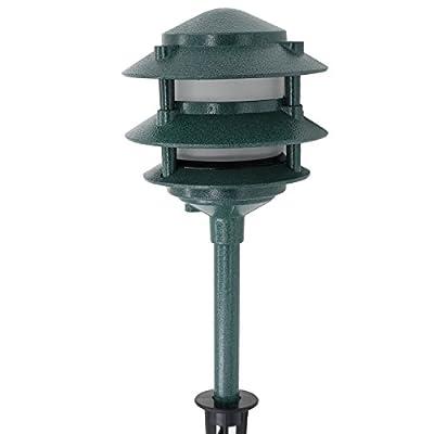 Lumina Lighting Low Voltage Landscape Cast-Aluminum Path & Area Light Outdoor Light W/ Ground Spike - Green Finish PAL0103-VG 20W JC Bipin G4 Halogen Bulb Included