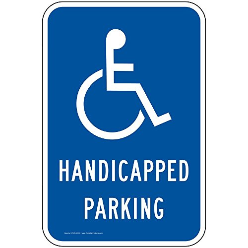 Handicapped Parking Label Decal, 18x12 inch Reflective Vinyl for Parking Control by ()