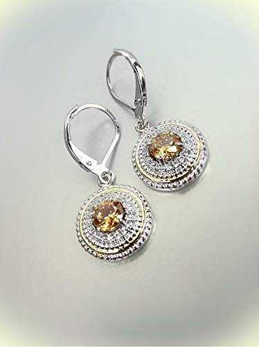 White Gold Plated Brown Topaz CZ Crystal Petite Round Leverback Earrings For Women Set