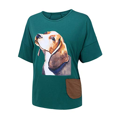 Witspace Fashion Womens Plus Size Casual Tops Cartoon Print Half Sleeve Pocket T-Shirt Green