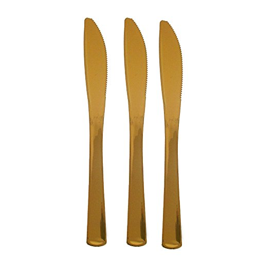 200 Gold Plastic Knives, Elegant And Disposable Shiny Gold 24K Look Flatware. Includes 200 High Quality Gold Knives.