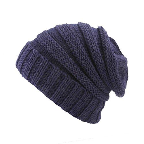 Yezijin Women Ladies Retro Winter Knitting Hat Turban Brim Hat Cap Pile Cap (H) ()