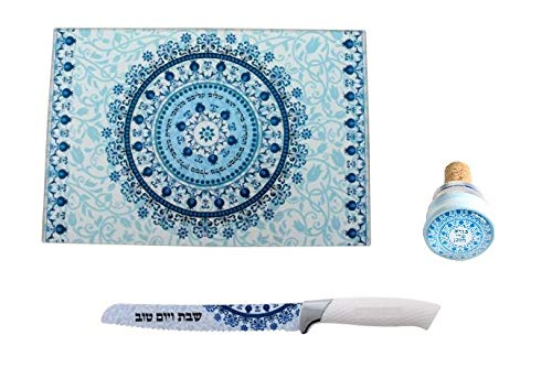 Reinforced Glass Challah Tray or Cutting Board with Matching Knife for Shabbat and Jewish Holidays + Wine Bottle Stopper