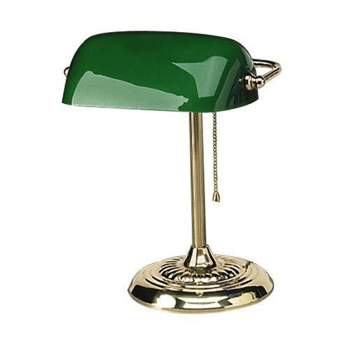 Traditional Incandescent Banker's Lamp, Green Glass Shade, 1