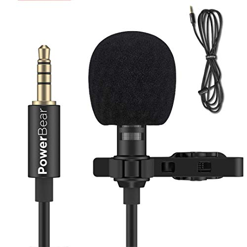 PowerBear Lapel Microphone | Omnidirectional Lavalier Microphone (Condenser Microphone with Metal Clip) 3.5mm Jack Compatible with Many Devices |Professional Lapel Mic - Black