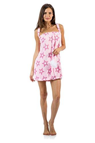 Casual Nights Women's Plush Fleece Shower Wrap Bathrobe with Soap Sponge - Pink Stars - X-Large