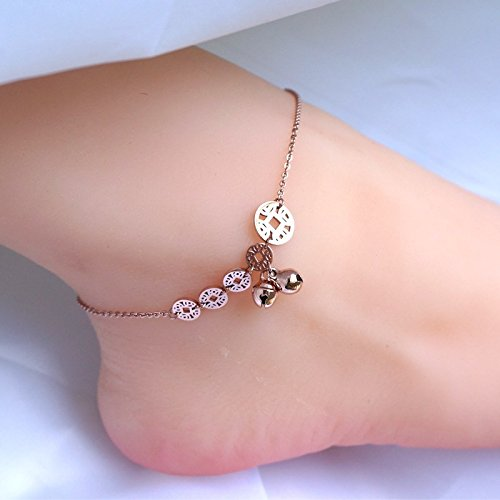 TKHNE small animal year Lucky coins bell Foot Chain anklet ankle chain retro rose gold steel rings hollow coins Lucky by TKHNE