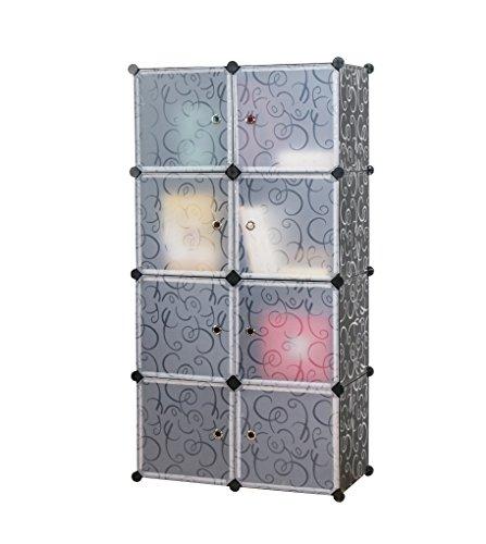 UNICOO - Multi Use DIY Plastic 8 Cube Organizer, Toy Organizer, Bookcase, Storage Cabinet, Wardrobe Closet (Black) by UNICOO