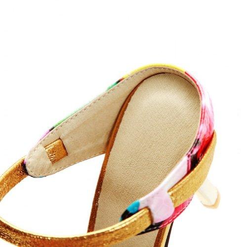 Charme Voet Mode Hoge Hak Open Teen Slippers Sandalen Geel