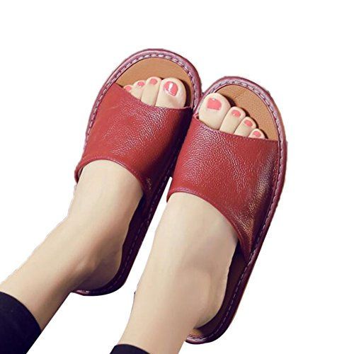 Vin Spring Wooden Rouge TELLW Cowhide Corium Men for Floor Summer Leather Women Smelly Anti Slippers Autumn W qxRxZw