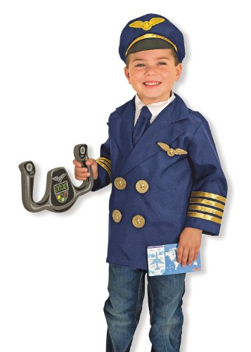 (Melissa & Doug Pilot Role Play Costume Set (6 pcs) - Jacket, Tie, Hat, Wings, Steering Yoke,)