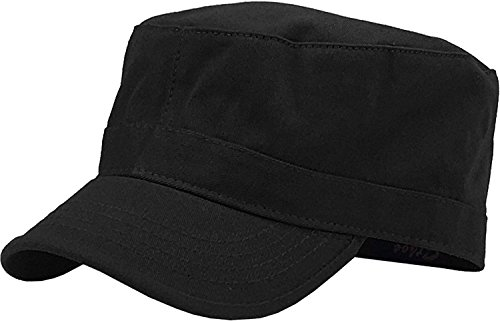 (Xuzirui Adjustable Baseball Cap Cadet Army Basic Cap Military Style Washed Cotton Hat (Black))