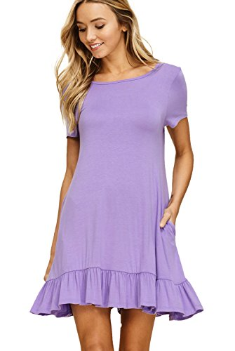 Annabelle Women's Short Sleeve Round Boat Neck Ruffle Hem Short Dress with Pockets Dark Lavender Small D5420