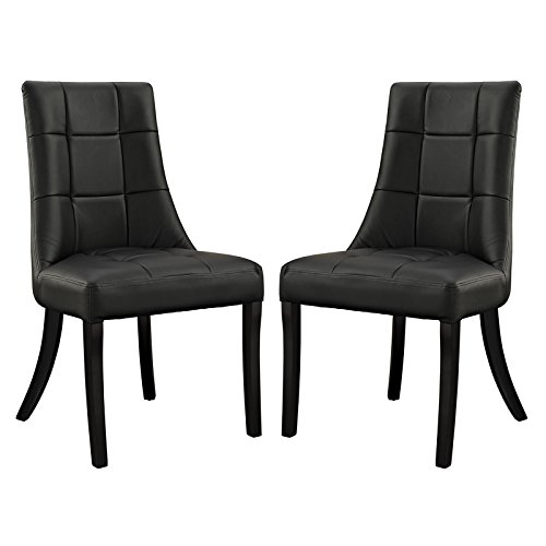 Cheap Modway Noblesse Vinyl Dining Side Chairs in Black – Set of 2