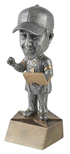 Fantasy Football Pewter Bobblehead Trophy - Customize Now - Personalized Engraved Plate Included & Attached to Award - Perfect Awards Trophy - Hand Painted Design - Decade Awards
