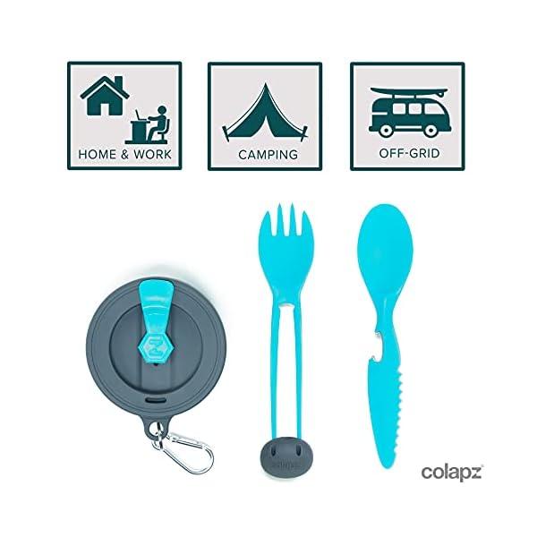 4172PyK6cUS Colapz 7-in-1 Reisebesteck mit Tasche - Camping Besteckset - Outdoor Besteck Zum mitnehmen- Camping Geschirr Set…